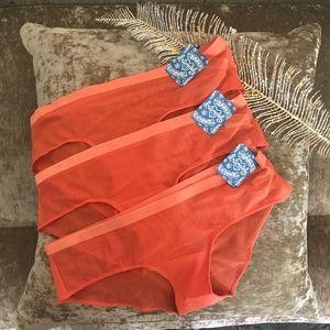 Free People 3 Bundle Hipster Mesh Panties Orange S